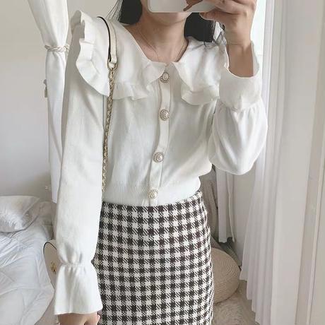 frill collar  cardigan