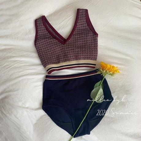 【即納】check highwaist knit swimwear
