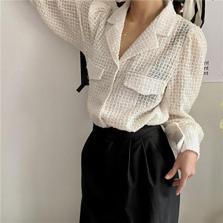 sheer offwhite blouse