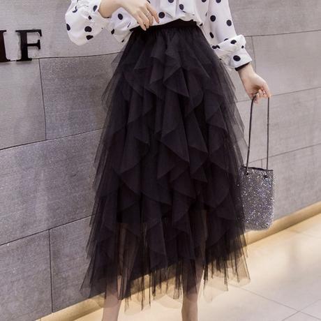 many frill tulle skirt