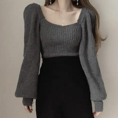 puff sleeve volume knit