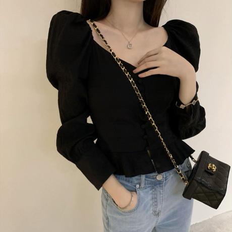vneck girlypuffsleave blouse