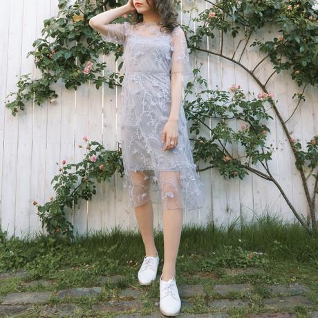 3D flower embroidery dress