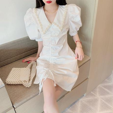 shirring white pearl onepiece