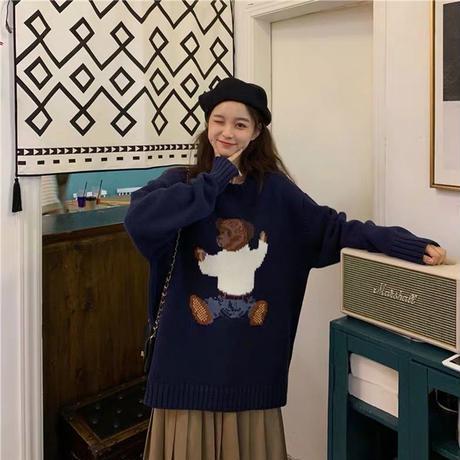teddy bear navy knit
