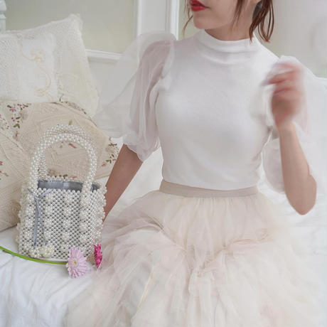 organdy puff sleeve knit