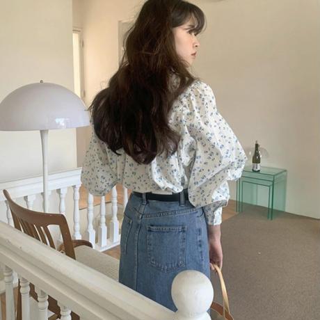 slit long denim skirt