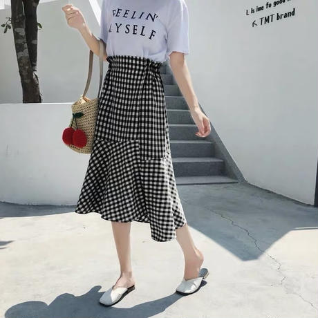 gingham check asymmetry skirts