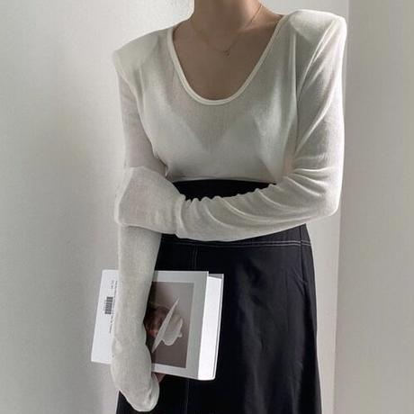 v neck power shoulder sleeve