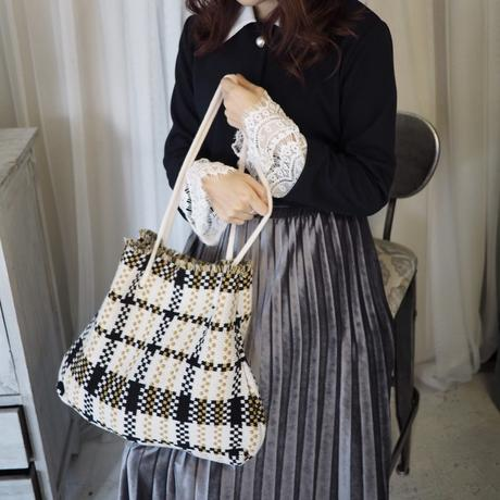 Knit check bag