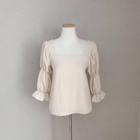 cotton square puffsleeve blouse