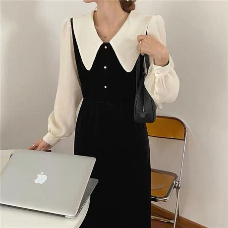 shirring french velours onepiece