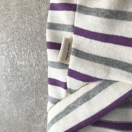 ORIGINAL 七分袖 border tops . [gray×purple   L , XL , HPS , HPM , HPL ]