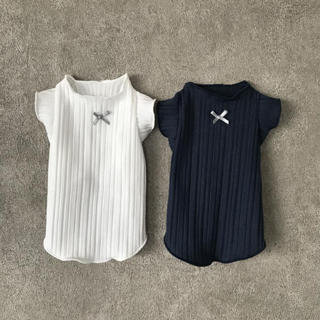frill ribbon tank top . [ navy ]