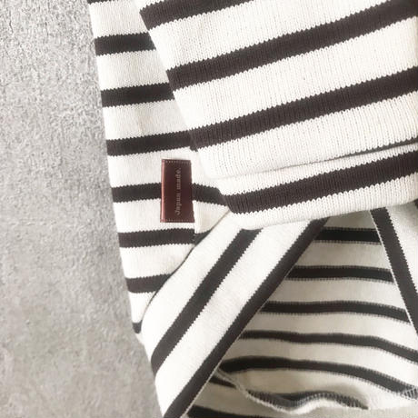 ORIGINAL 七分袖 border tops .[ ivory×brown   L , XL , HPS , HPM , HPL ]