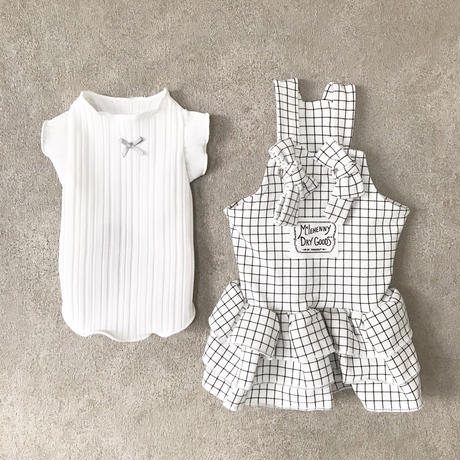 frill ribbon tank top . [ white ]