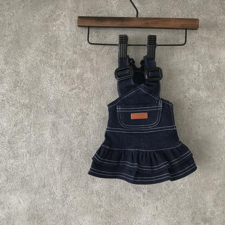 denim salopette skirt . [ blue ]