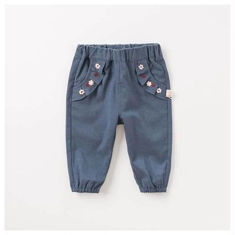 dave & bella ポケット フリル 刺繍 デニム風 パンツ