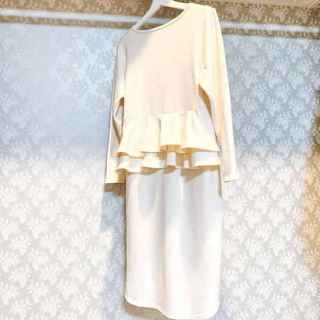 Back frilled sweat dress