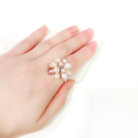 Natural Pear  Flower Ring
