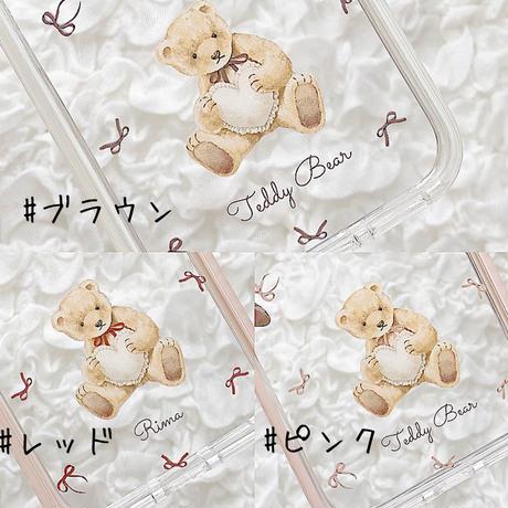 【ネーム入り】Heart Pillow Bear♡【耐衝撃クリアケース】B29