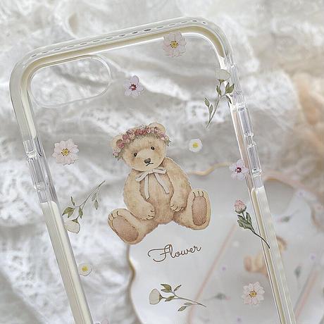 【ネーム入り】Driedflower Bear♡【耐衝撃クリアケース】B27