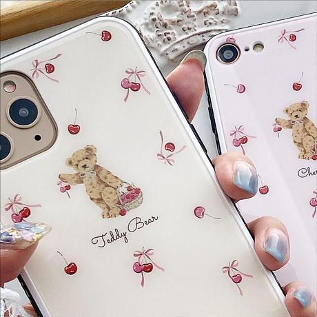 【ネーム入り】Ribbon Cherry Bear♡【強化ガラスケース】K18