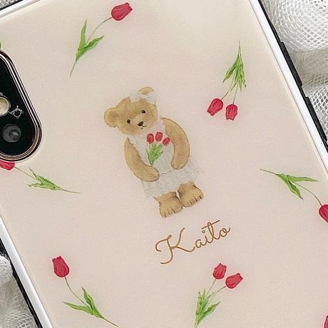 【ネーム入り】Tulip Bear♡【強化ガラスケース】K14