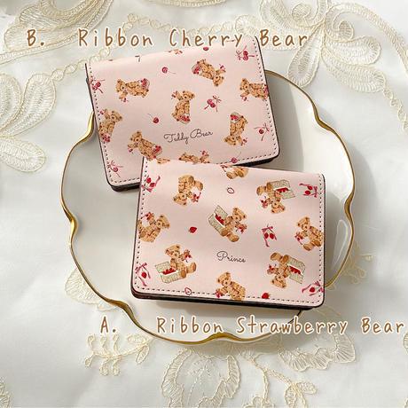 【ネーム入り】Ribbon Fruit Bear♡カードケース♡名刺入れ 定期入れ