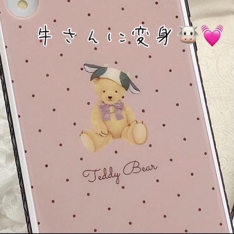 【ネーム入り】CowHat Bear♡【強化ガラスケース】K25