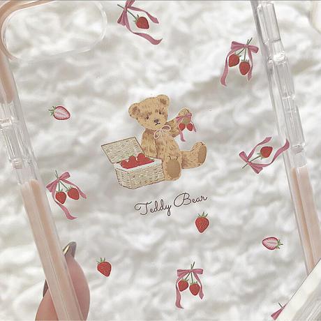 【ネーム入り】Ribbon Strawberry Bear♡【耐衝撃クリアケース】B23