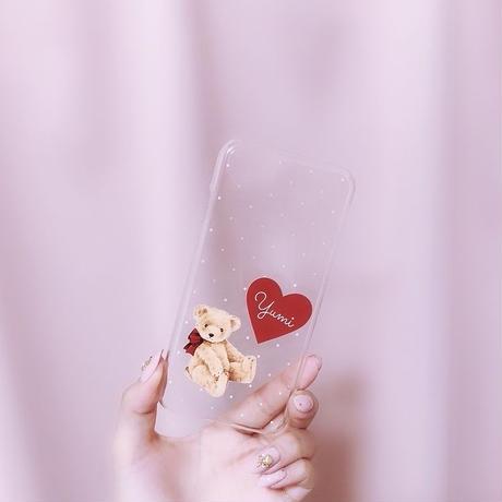 【ネーム入り】Dot Teddy bear♡ドットテディベア【クリアハードケース】H06
