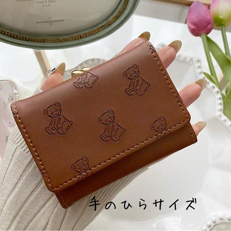 Teddy Bear 型押し Mini Wallet♡ミニ財布【即納】