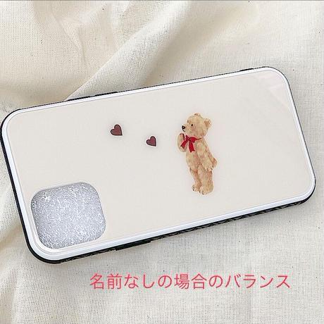 【ネーム入り】Think  Bear♡【強化ガラスケース】K09
