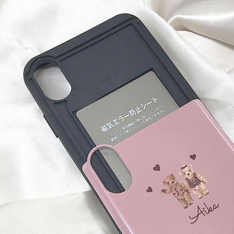 【ネーム入り】LoveLove Bear ♡【 ICカード入れ付きスマホケース】2週間待ち