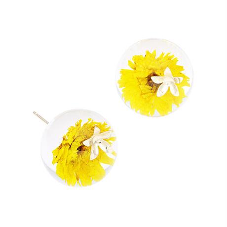 flowerball metalピアス(レモンイエロー)