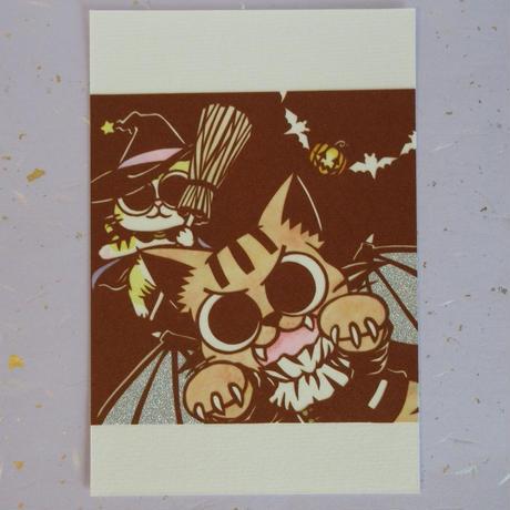 切り絵ポストカード ハロウィンの仮装