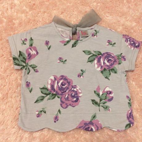 バックリボン付き花柄Tシャツ