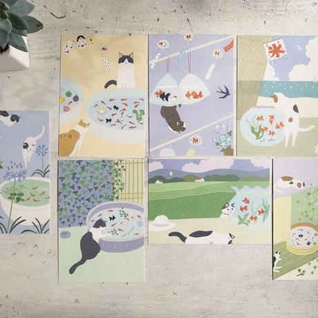 猫と金魚ポストカードセット 2020