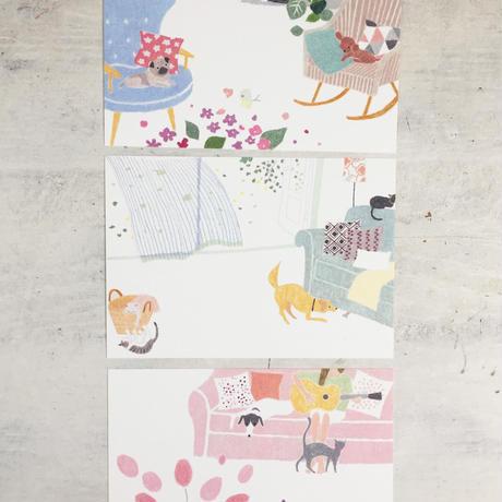 春のポストカードセット ワンニャンspring