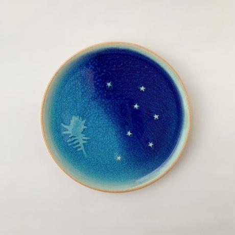 青の煌めき5寸皿