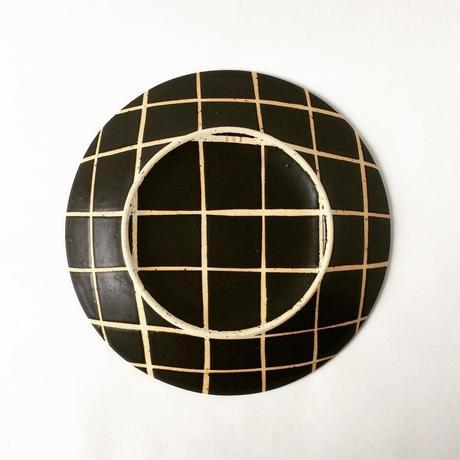 モノクロ皿(チェック)
