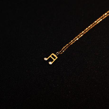ゴールドネックレス 音符 K18 ダイヤ