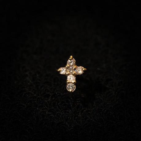 ゴールドピアス クロス K18 ダイヤ