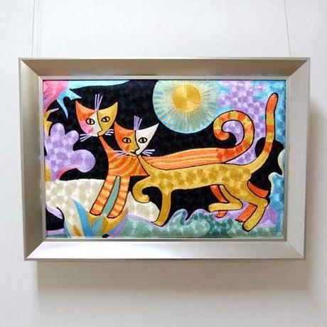 刺繍絵画(48.5×68.5) ロジーナ「一緒に散歩」 商品番号:is1087-rw-01