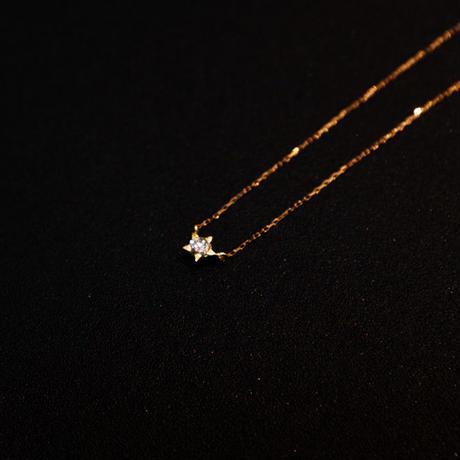 ゴールドネックレス ワンスター K18 ダイヤ