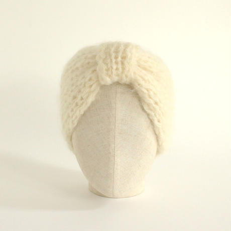 Mohair Knitted Hairband  (White)