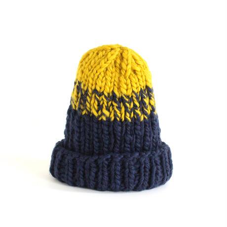 Low Gauge Knit Cap (Navy x Yellow)