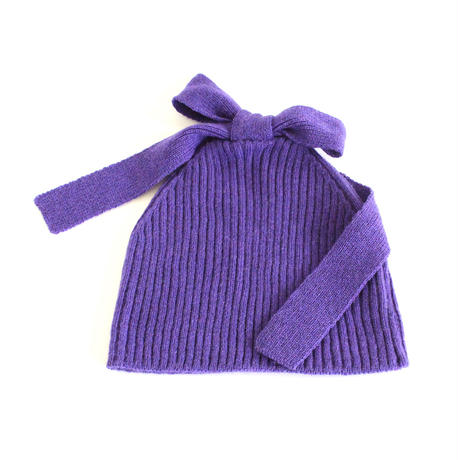 Ribbon Knitted Cap (Purple)