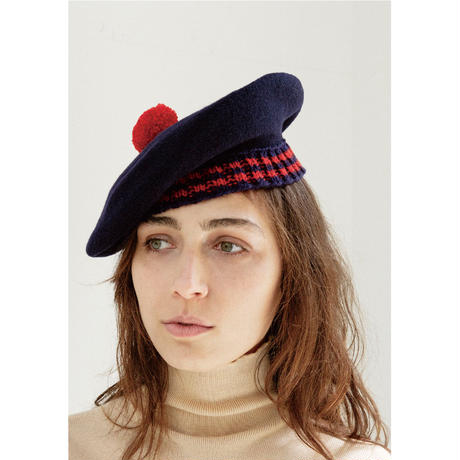 Sailors Beret (White x Navy)